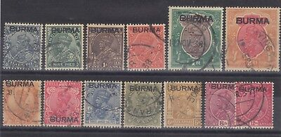 Burma GV 1937 used selection including service stamps (2 scans)