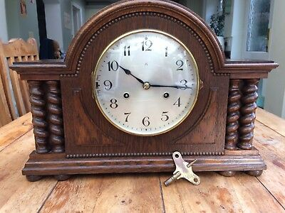 Stunning HAC 3/4 Westminster Chimes Bauhaus Clock Solid Oak With Barley Twists