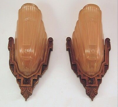 AWESOME! Restored Pair of Antique MARKEL M.E.P Slip Shade Light Fixture Sconces