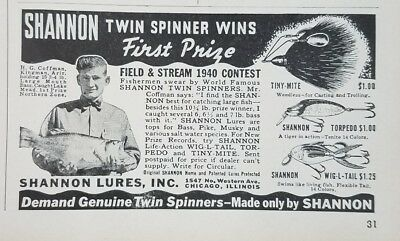 1941 SHANNON LURES, INC. Original Vintage Advertising TWIN SPINNERS Fishing Lure