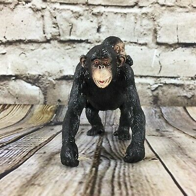 "Chimpanzee & Baby Figure Walking Stance 4.25"" Tall Black Poly Resin AAA China"