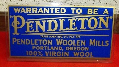 Rare Plexiglass Advertising Sign Pendleton Woolen Mills Excellent Condition