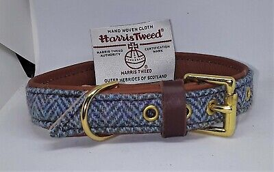 Blue Harris Tweed on Tan leather dog collar with solid brass hardware