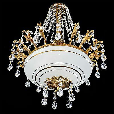 Antique 6 Light Gilt French Empire Gold Painted Opaline Glass Crystal Chandelier