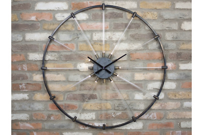 93cm Large Black Bicycle Wheel Style Clock Light Up Spokes Bikes Industrial