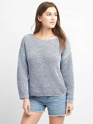 NWT Gap Chenille Wide-Sleeve Boat Neck Pullover Sweater - Sz. M - Storm Cloud