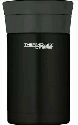 Thermos Thermocafe Stainless Steel Insulated Food Flask & Spoon 500ml Black