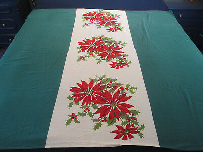 "Christmas Tablecloth Vintage Poinsettias Center Green Sides Holiday 48"" x 50"""
