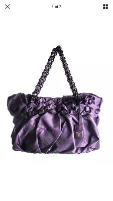 d9c0c10ca83d28 AUTHENTIC PRADA TESSUTO Purple/Burgundy Satchel Bag with leather ...