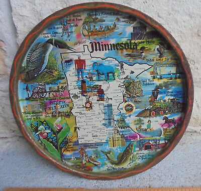 "Vintage metal 11"" souvenir plate tray by Ken Haag: Minnesota, colorful graphics."