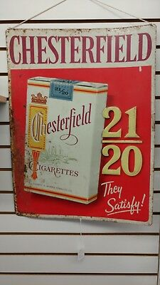 Vintage Chesterfield The Satisfy Cigarette Advertising Sign