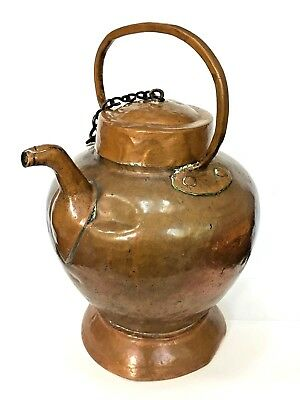 Vintage Copper Brass Water Pitcher with Handle and Chain Attached Lid