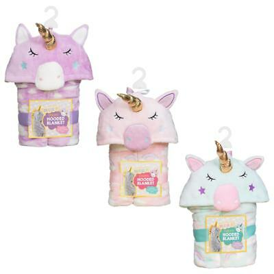 New Cosy 3D Hooded Unicorn Blanket - Pink, Mint & Lilac - Pefect For A Princess