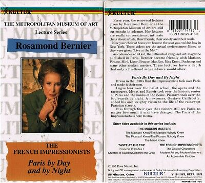 French Impressionists Paris By Day & By Night VHS Video Tape Nw Rosamond Bernier