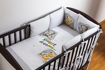 Pillow Bumper for Cot / Cot Bed 12 Pcs / 6 Pillows and 6 Pillowcases Teddy Bear