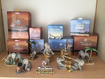 tuskers elephants ornaments collectable boxed joblot bundle animals country art
