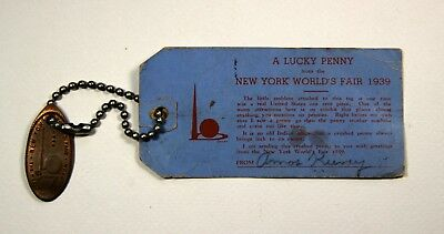1939 New York World's Fair LUCKY PENNY on original mailing tag
