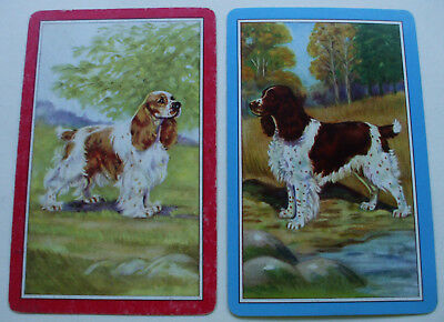 2 Vintage Swap Playing Cards/blank backs Sporting Dogs Spaniels Pair