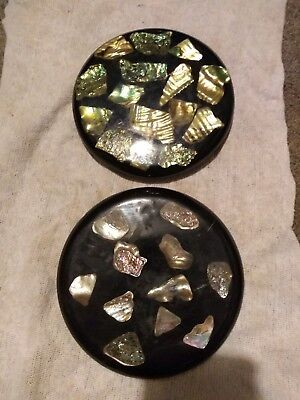 """VINTAGE 2 BLACK with ABALONE SHELLS LUCITE COASTERS / TRIVETS 5-1/2"""" ROUNDS"""