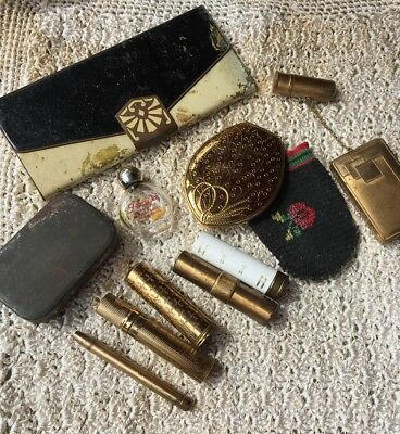 Vtg Makeup & Vanity Lot  Compacts, Mirrors, Tin Business Card cigarette case
