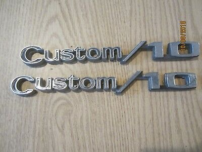 Original Pair 1969-1972 Fender Emblems Chevy Custom 10 Chevrolet C10 Truck