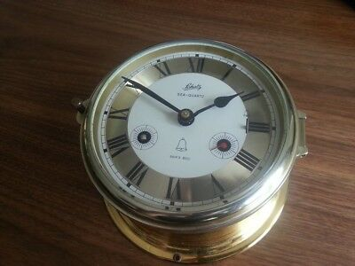 Vintage Schatz Sea-Quartz Brass Ships Clock Ship's Bell West Germany Glasenuhr