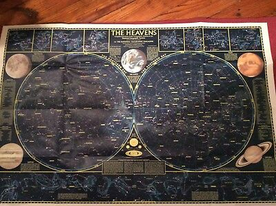 "National Geographic MAP OF ""THE HEAVENS"" 23"" x 35"" Map 2 Sided  1970 Star Charts"