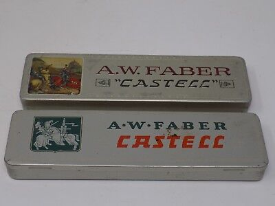 A.W. Faber Castell Vintage Pencil Tins Lot of Two with Pencils Made In Bavaria