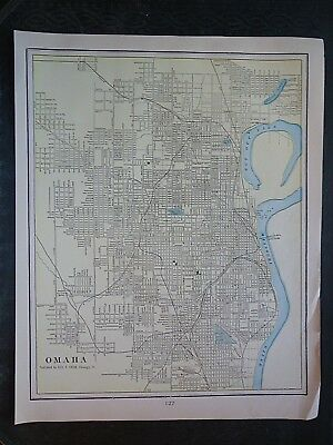 Vintage 1903 OMAHA, NEBRASKA Map ~ Old Antique Original Atlas Map 100718