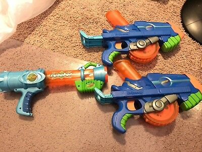 Lot Of Vintage 2006 Blue NERF Buzzsaw Toys Gun Ball Shooter BLASTER And REACTOR