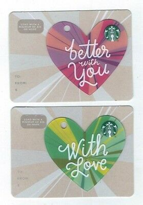 STARBUCKS Collectible Gift Card - LOT of 2 Cards - HEARTS with Love - No Value