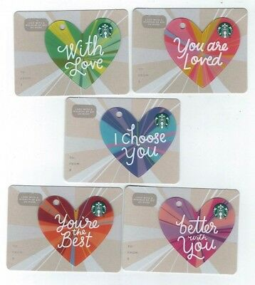 STARBUCKS Collectible Gift Card - LOT of 5 Cards - HEARTS Love - No Value