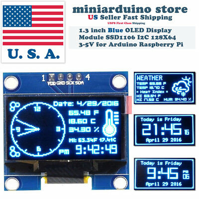 "1.3"" I2C IIC 128X64 LED OLED LCD  Display Module Arduino Blue Color SSD1106 US"