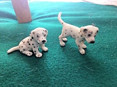 Schleich Dalmatian Puppy, lot of 2 from retired family pack