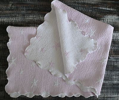 Elegant Baby Blanket Matlasse 100% Cotton  Pink & White Reversable Star Portugal