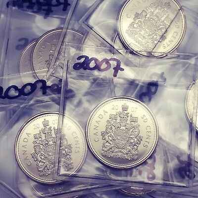 2007 Canada 50 Cent Coin From BU Roll Sealed In Acid-Free Package #coinsofcanada