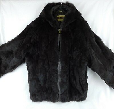 Excelled Mens Collection ~ RABBIT FUR JACKET ~ L Hooded Zipper Dark Brown EUC