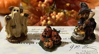 Boyds Bearly Built~Wunnerful Village Accessory Stuff Halloween ~ 3 Piece Set New