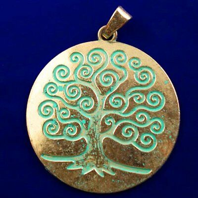 Carved Brass Bronze Tree Round Pendant Bead 65x2mm L89292