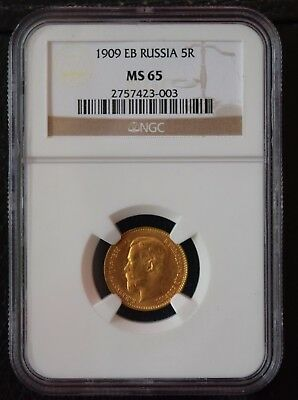 1909 Eb Russia Gold 5 Rouble Ngc Ms--65