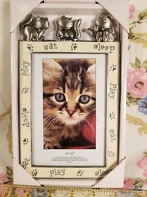 NIB 4x6 enamel metal Play Sleep Eat Cat Kittys kitten Photo Frame NOS
