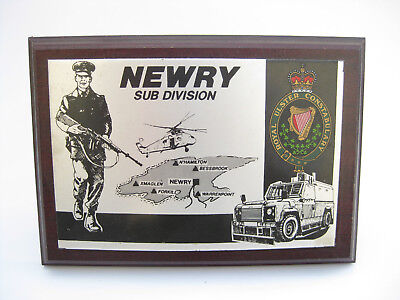 VINTAGE ROYAL ULSTER CONSTABULARY NEWRY Sub Division Irish Police DESK PLAQUE