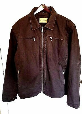 Excelled Motorcycle Jacket Extra Extra Large Black Heavy Cotton Biker Front Zip