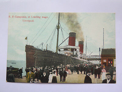 POSTCARD S S CAMPANIA at LANDING STAGE LIVERPOOL ENGLAND c1907 EXCELLENT
