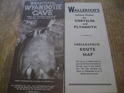 1940's Wyandotte Cave Indiana Brochure + Chrysler & Plymouth Indianapolis Map