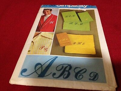 Simplicty 9738 Iron on Transfer for Embroidery Monograms UNCUT