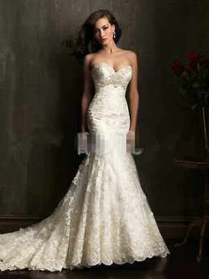 New Lace white/ivory Wedding Dress Sexy V Neck Mermaid Bride Gown With Train