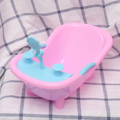 Mini Pink Plastic Shower Bathtub for Barbie Doll House Furniture Decor Gift CA