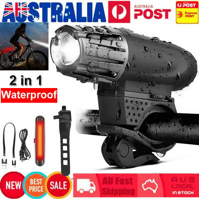 USB Rechargeable Warning Bike Bicycle Light LED Waterproof Front Rear Tail Lamp