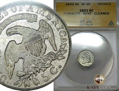1833-P ANACS VF 20 Details Silver Capped Bust Liberty Half Dime 5c US #19192A